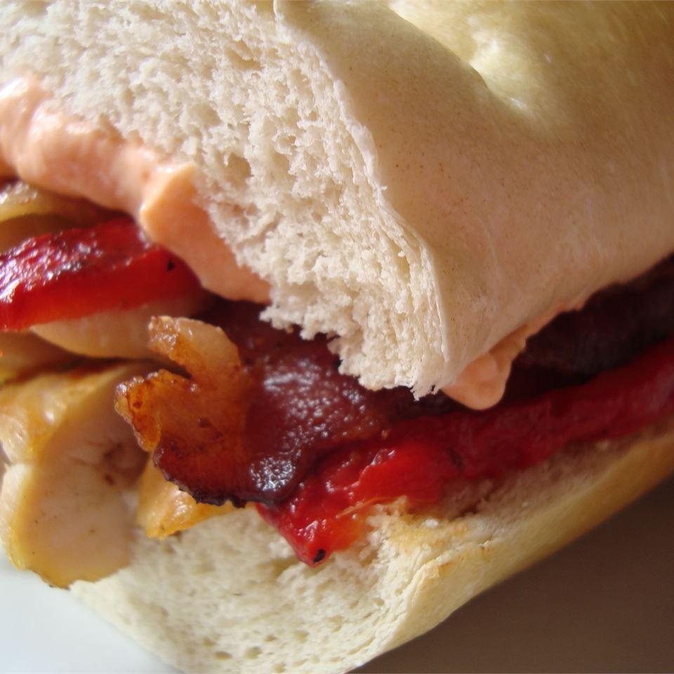 Hot Buffalo Chicken, Bacon, and Cheese Sandwich