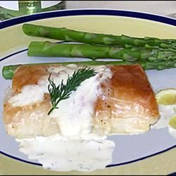 Phyllo-Wrapped Halibut Fillets with Lemon Scallion Sauce karyn8sons