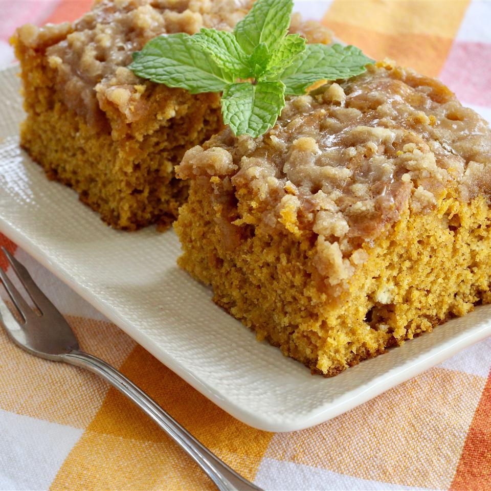 Pumpkin Coffee Cake with a Brown Sugar Glaze