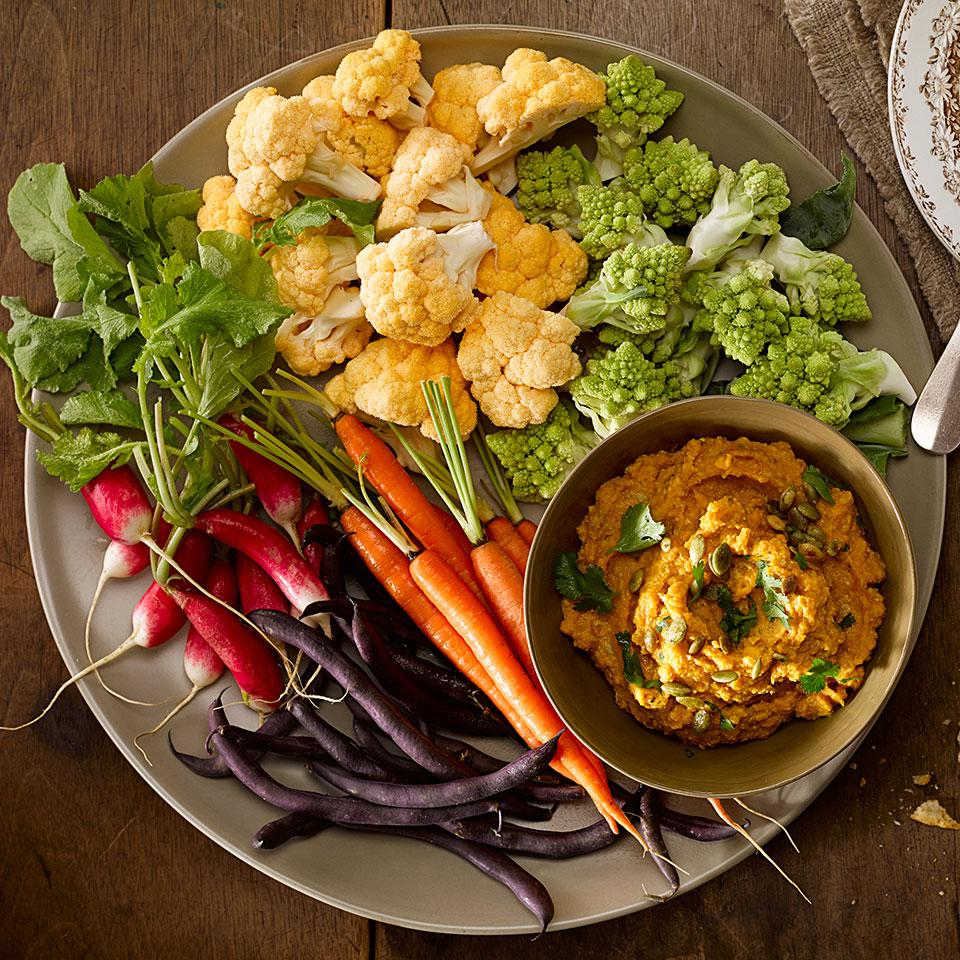 This healthy squash dip recipe, spiced with curry and made creamy with the addition of coconut milk, is a delicious alternative to hummus. You can also use other types of winter squash, pumpkin or sweet potatoes in place of the butternut squash in this dip. Serve with crisp raw vegetables or toasted pitas for dipping.