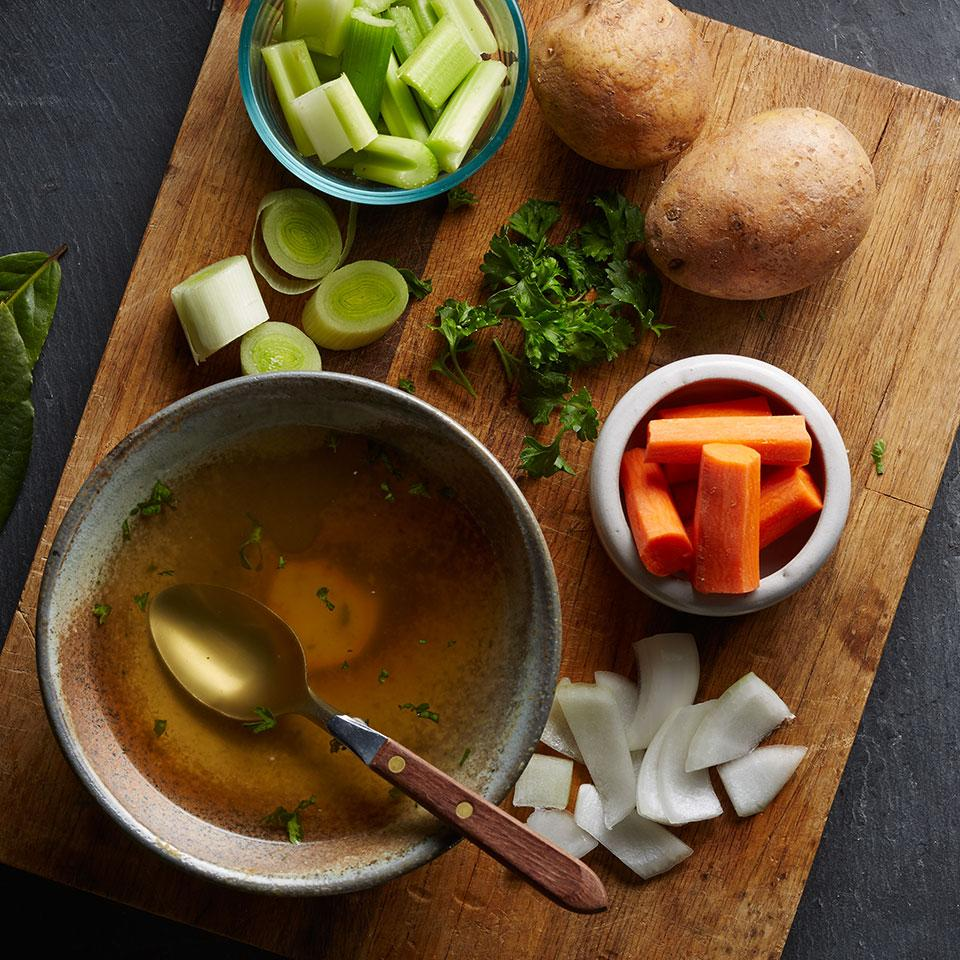 This very easy broth is just right as a base for many vegetarian soups. Recipe by Anna Thomas for EatingWell.