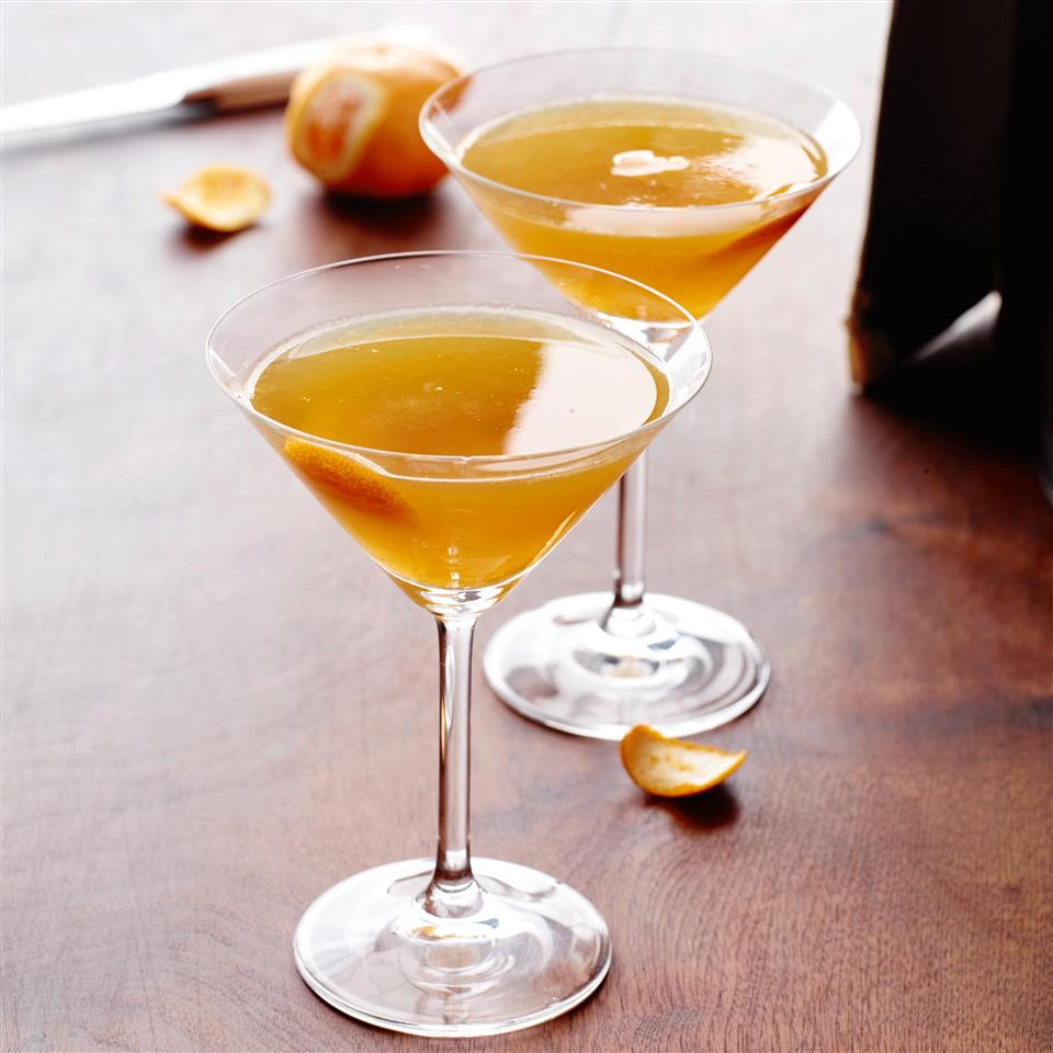"""This bourbon-based cocktail is the color of autumn. Doc Simonson explains the name: """"I named this cocktail Autumn Sunshine because its flavor is bright, like the sun, but the maple syrup, for some reason, reminds me of burning leaves in the autumn. For a clearer, more pungent cocktail, stir instead of shaking."""""""