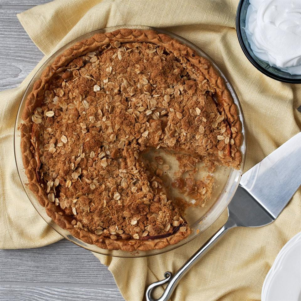 Make classic apple crumb pie vegan-friendly with this easy dairy-free flour crust. Take your dessert to the next level by whipping up a can of coconut cream into vegan whipped cream to dollop on top.