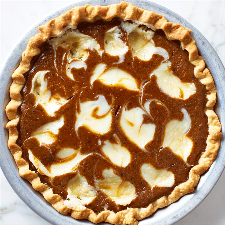 Pumpkin Cheese Swirled Pie