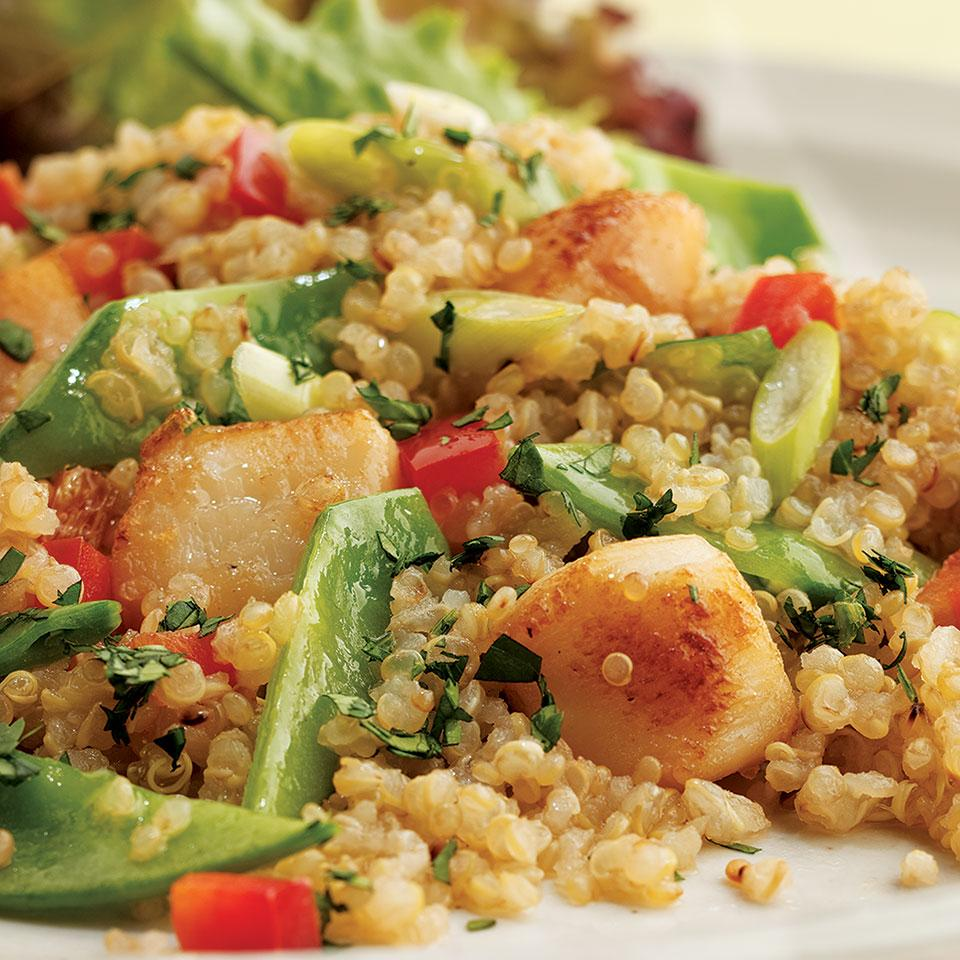 Toasted Quinoa Salad with Scallops & Snow Peas Marie Simmons