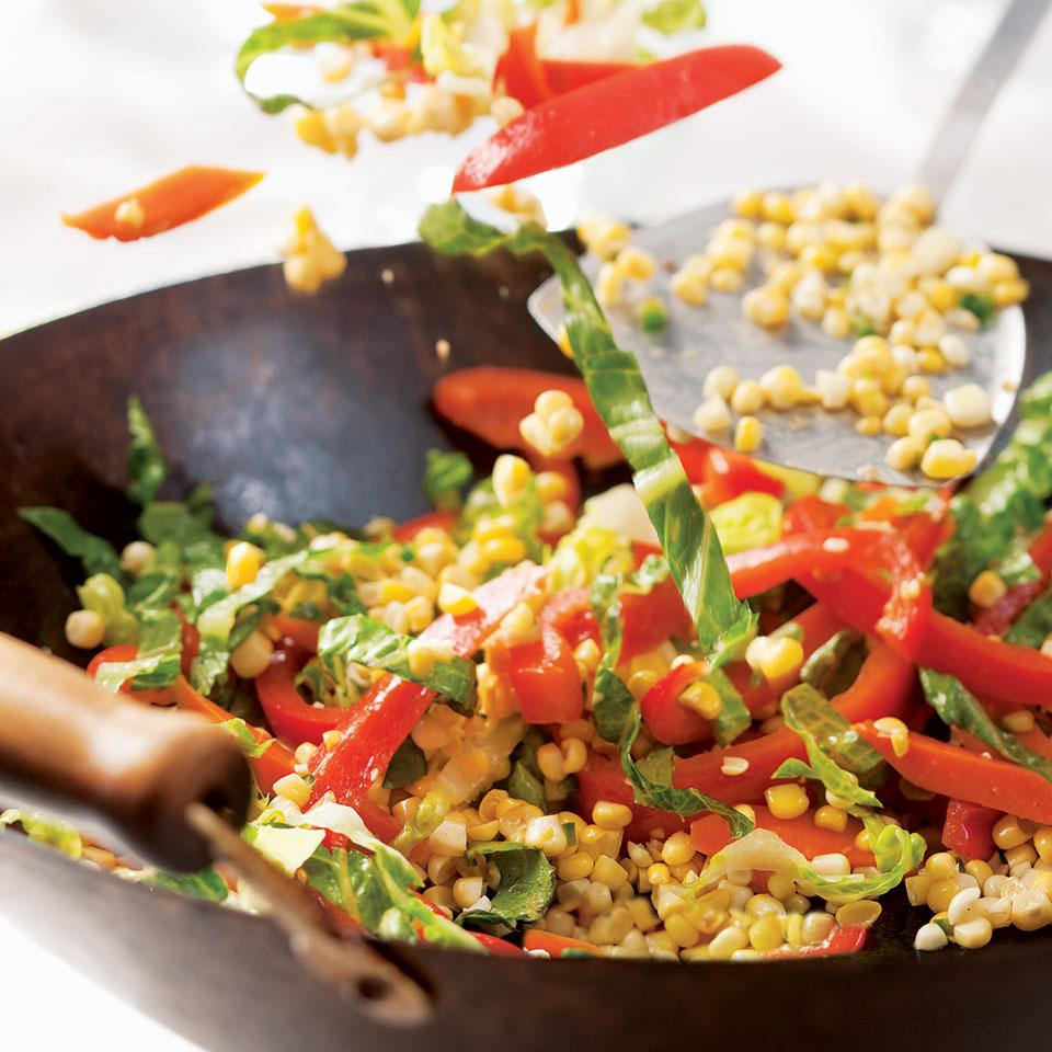 Stir-Fried Carrots, Corn & Peppers Grace Young
