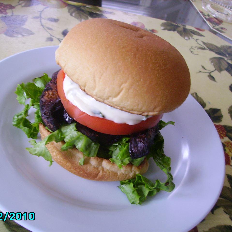 Grilled Portobello with Basil Mayonnaise Sandwich Christina