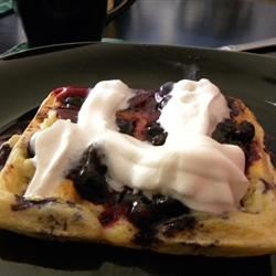 Blueberry Waffles with Fast Blueberry Sauce Tara Marshall Johnson