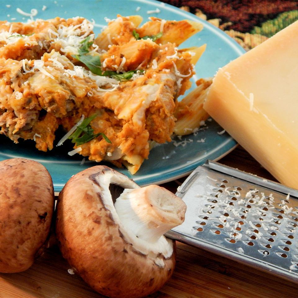 Penne with Italian Sausage, Mushrooms, and Pumpkin Sauce