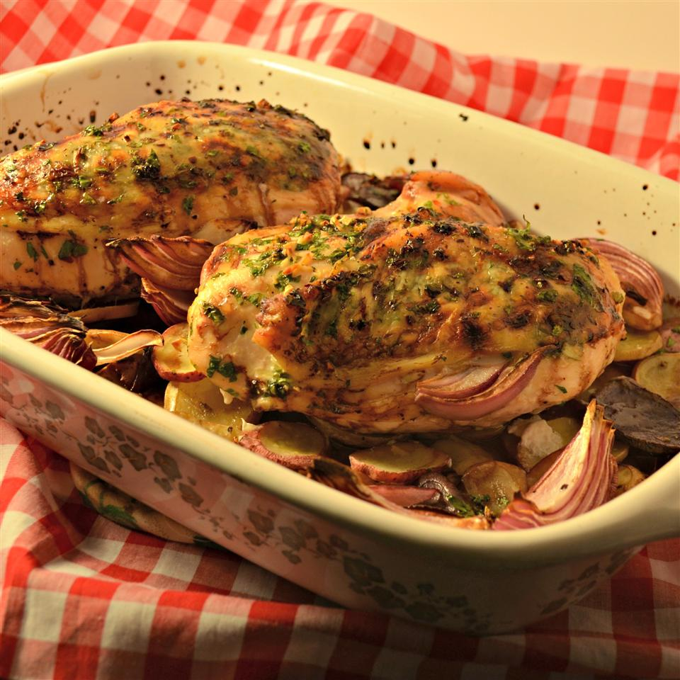 Balsamic Chicken with Red Onions and Potatoes