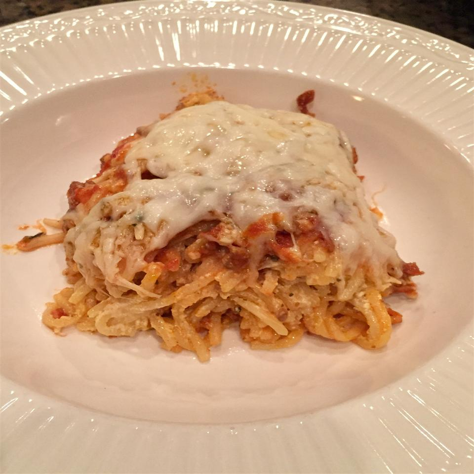 Baked Cream Cheese Spaghetti Casserole image