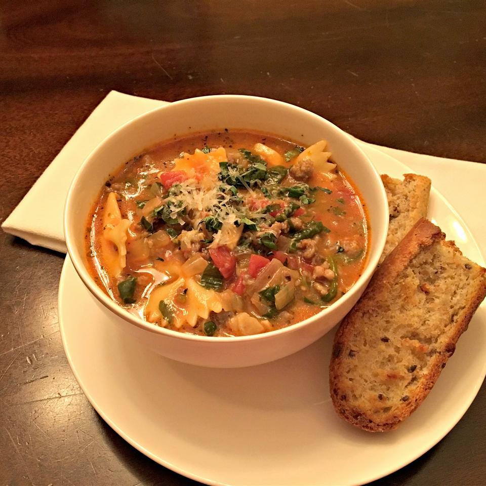 Cheesy Sausage Lasagna Soup