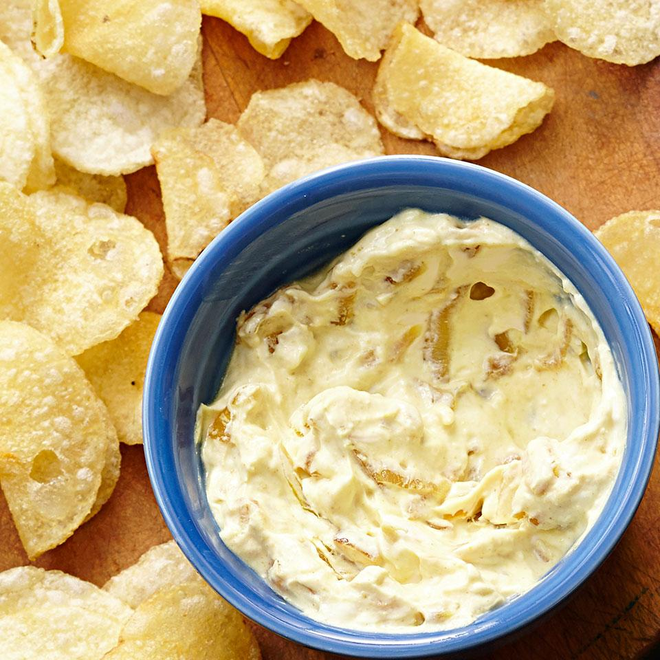 Skip the standard onion-soup-mix dip and serve up this healthy caramelized onion and curry dip recipe along with your favorite chips or some crudités.