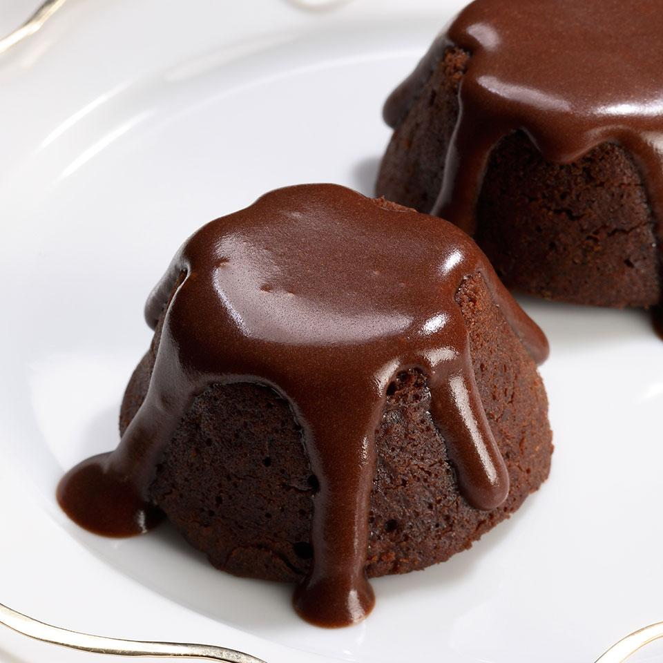 Some molten-cake recipes call for simply underbaking the batter so the middles stay lava-like, but mini cakes get done so quickly it's best to give them a filling that won't set up. These rich, mocha-flavored morsels are guaranteed to stay moist and gooey, owing to a simple mocha ganache in the middle. Serve the cakes with a scoop of low-fat coffee ice cream and garnish with a chocolate-covered espresso bean, if desired.