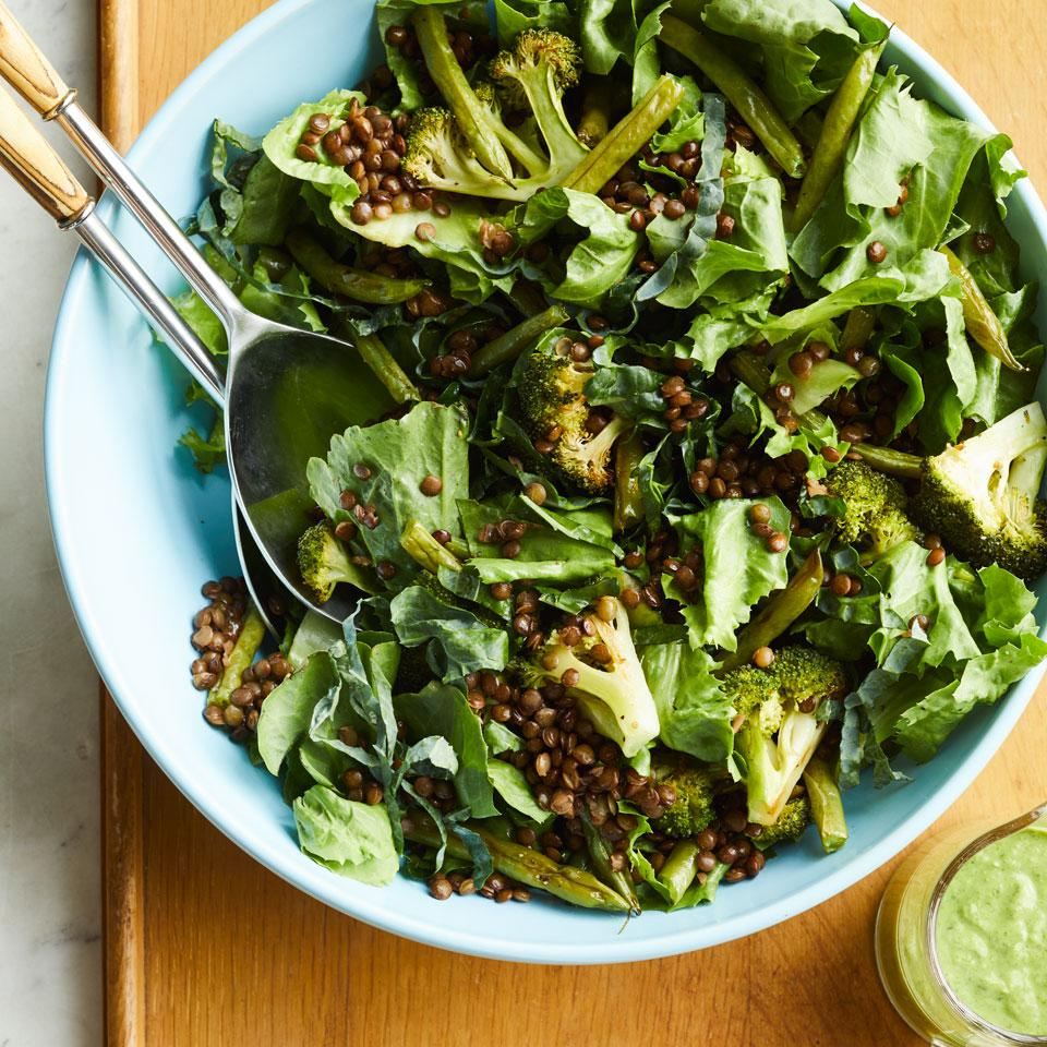 Goddess dressing typically gets its umami-ness from anchovies, but we use miso in this super green salad recipe to keep it vegetarian. Substitute 2 chopped anchovies for the miso if you like.