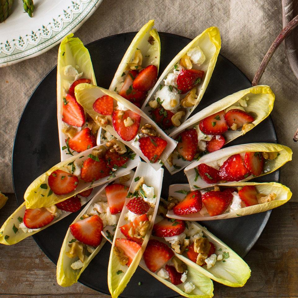 Filled with goat cheese, strawberries & walnuts, these stuffed endive leaves are an easy make ahead appetizer that your guests will love. Plus, the strawberries add a pop of color for a festive holiday flair.