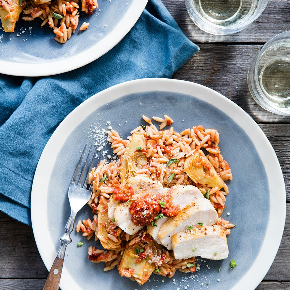 Sun-dried tomatoes and Romano cheese pack a flavorful punch along with the tantalizing aroma of fresh marjoram in this rustic Italian-inspired dish. Serve with sautéed fresh spinach or steamed broccolini.