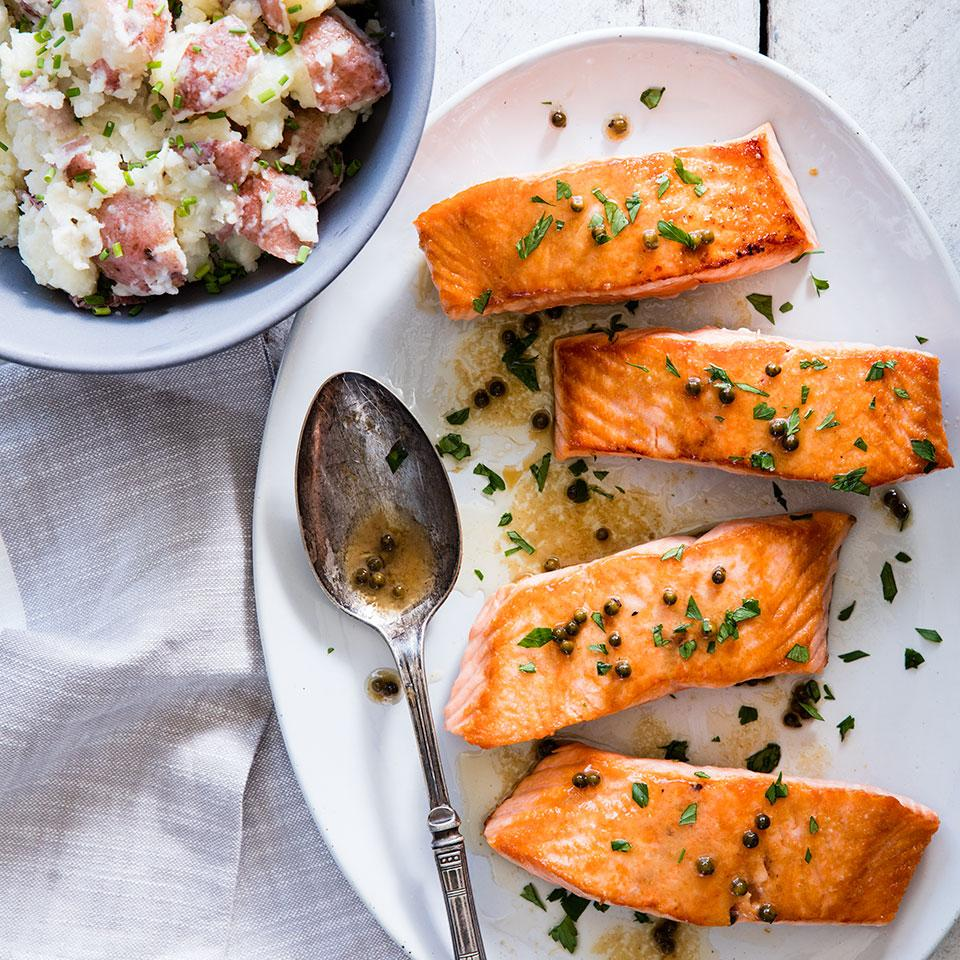 Seared Salmon with Green Peppercorn Sauce EatingWell Test Kitchen