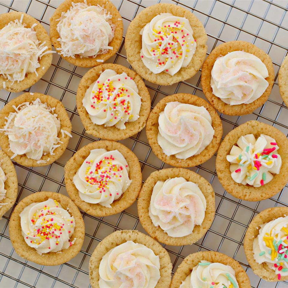 Sugar Cookie Cups with Coconut Buttercream Frosting
