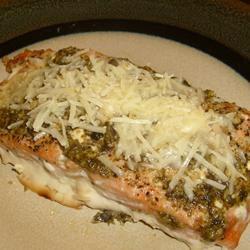 Basil Pesto Salmon Parmesan