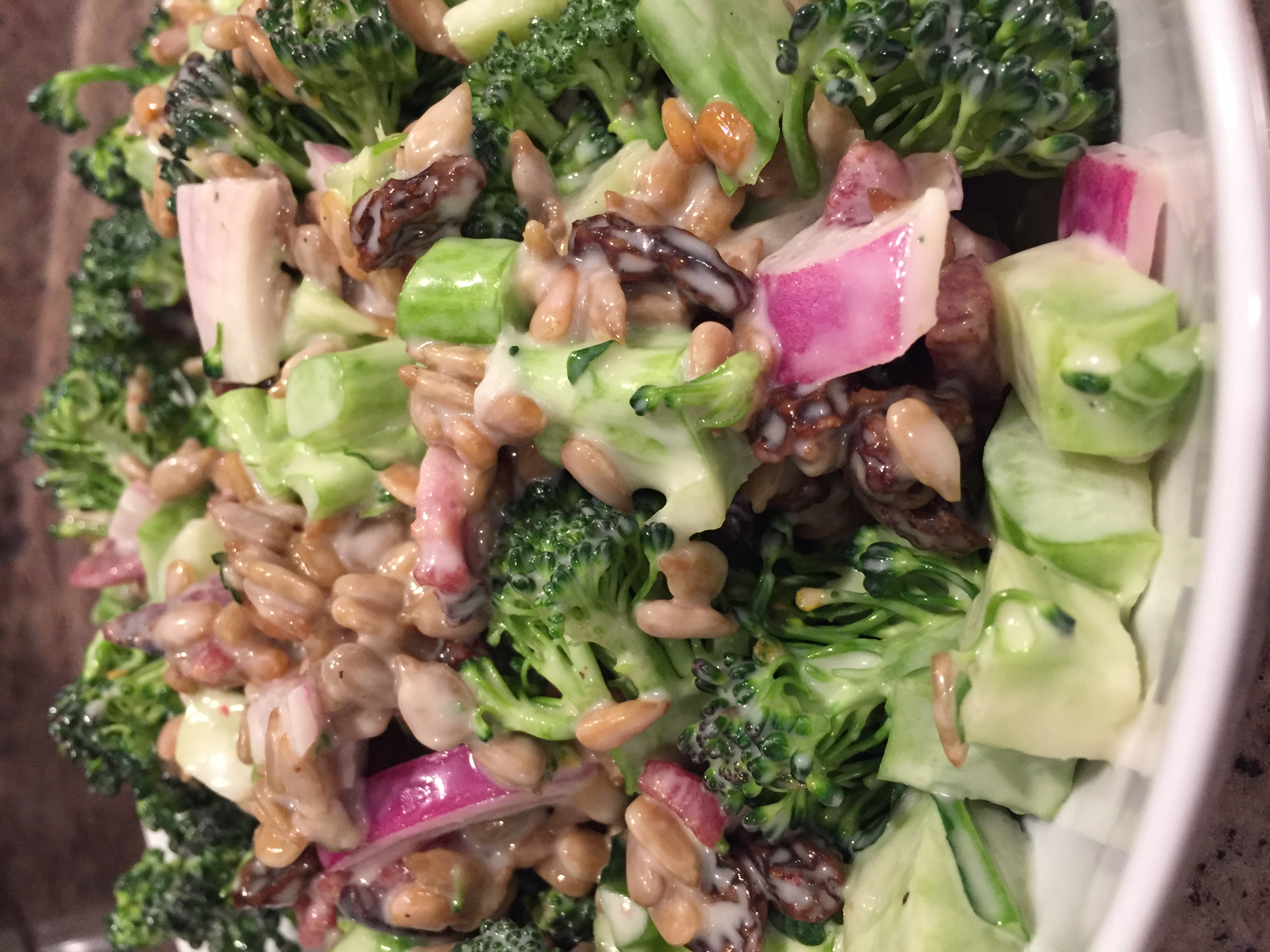 Bacon Broccoli Salad with Raisins and Sunflower Seeds Beth Stone Strachan