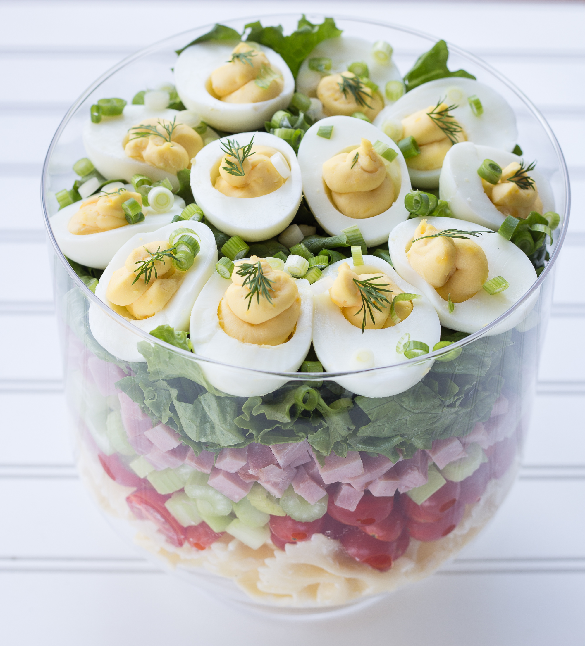Layered Deviled Egg Pasta Salad