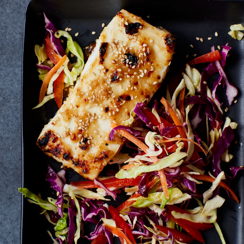 Miso-Glazed Broiled Halibut