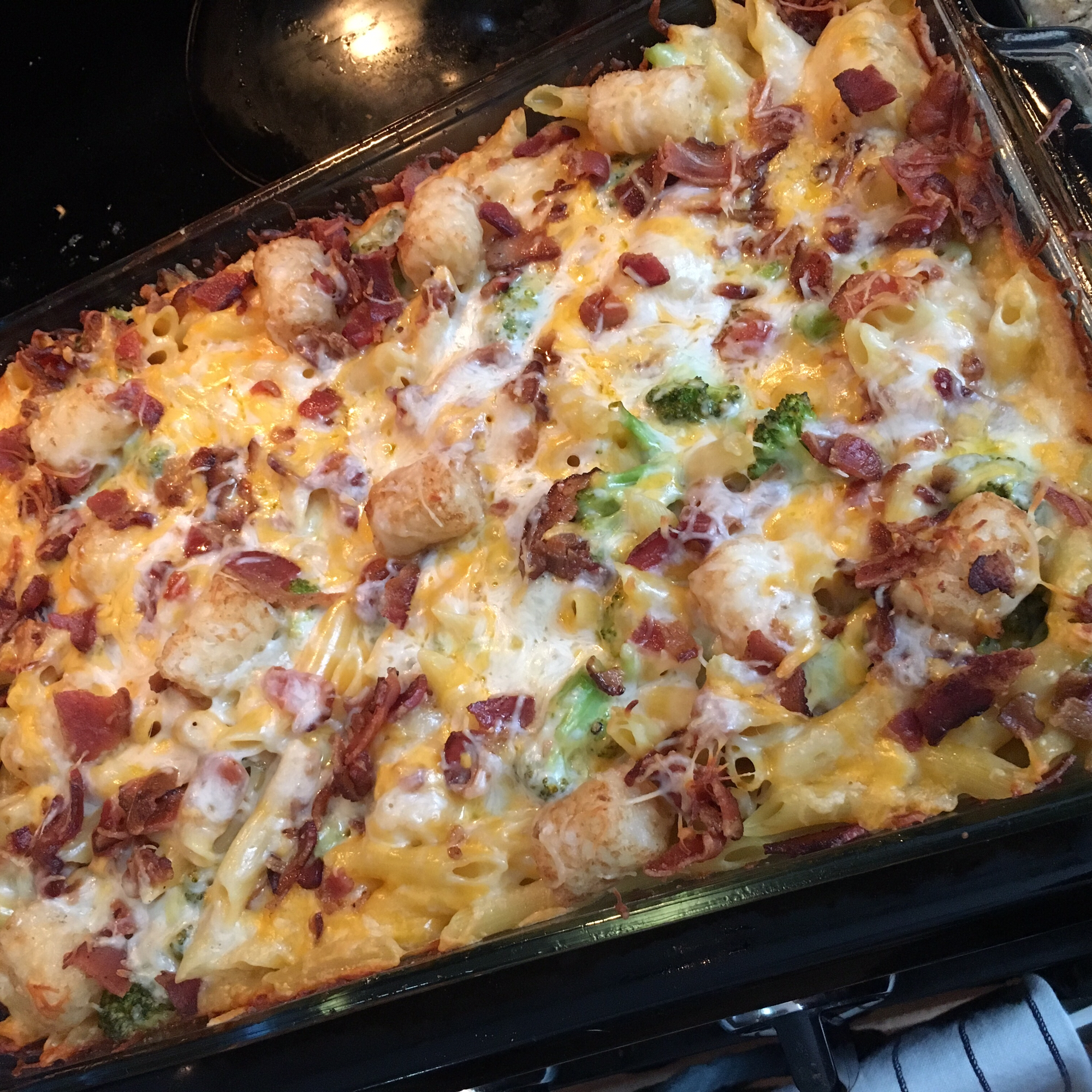 Broccoli Mac and Cheese with Bacon and Potato Nugget Topping Cookin' Care!