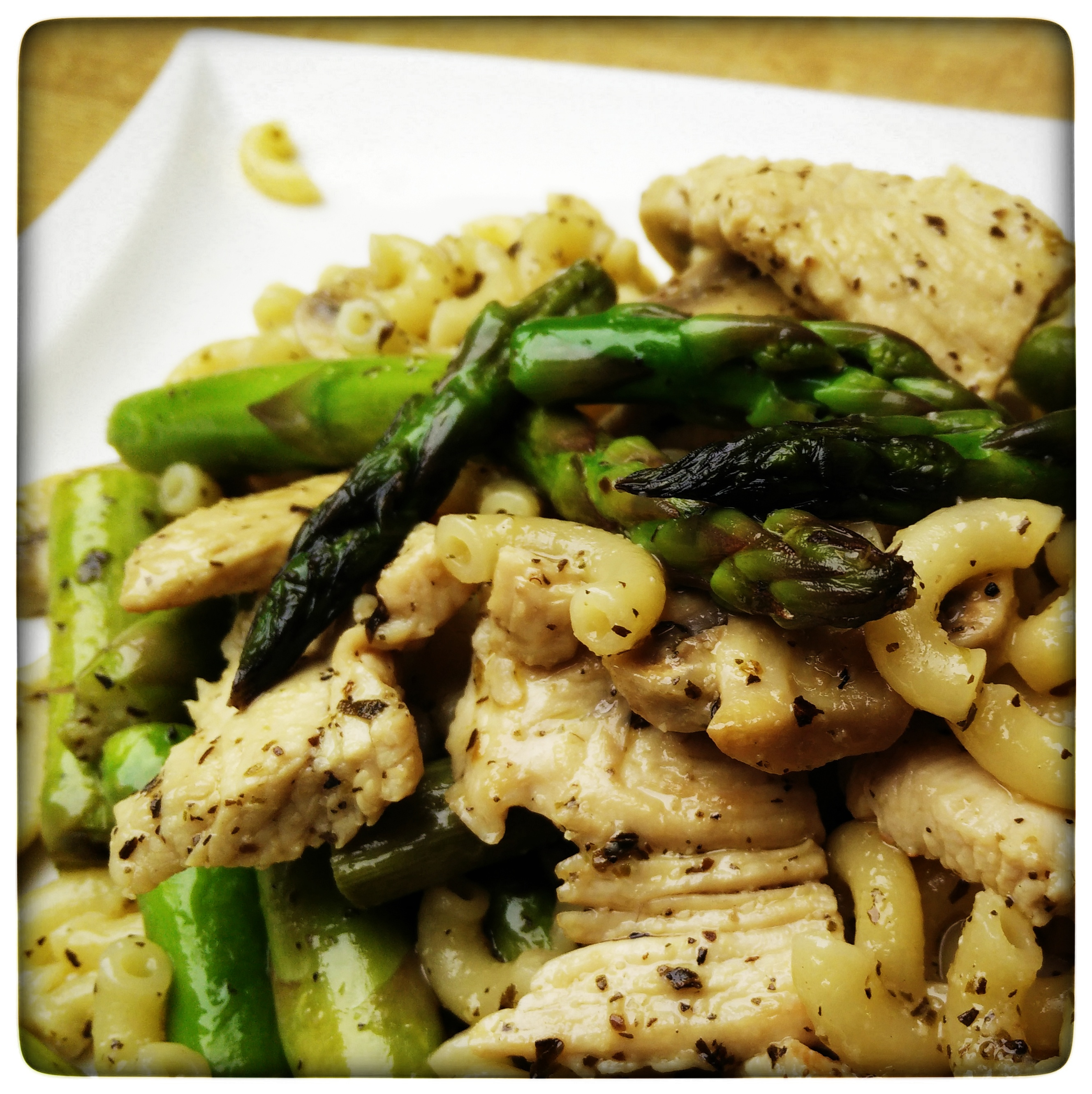 Chicken, Asparagus, and Mushroom Skillet