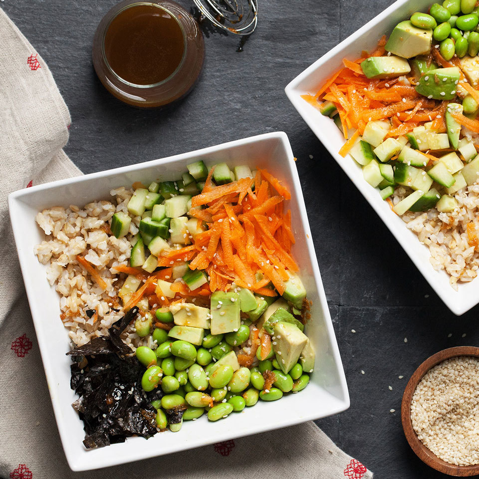 Skip the hassle of making sushi rolls at home and just go for this grain bowl. Start with a base of brown rice and add veggies, dressing and creamy avocado for a delicious and easy meal.
