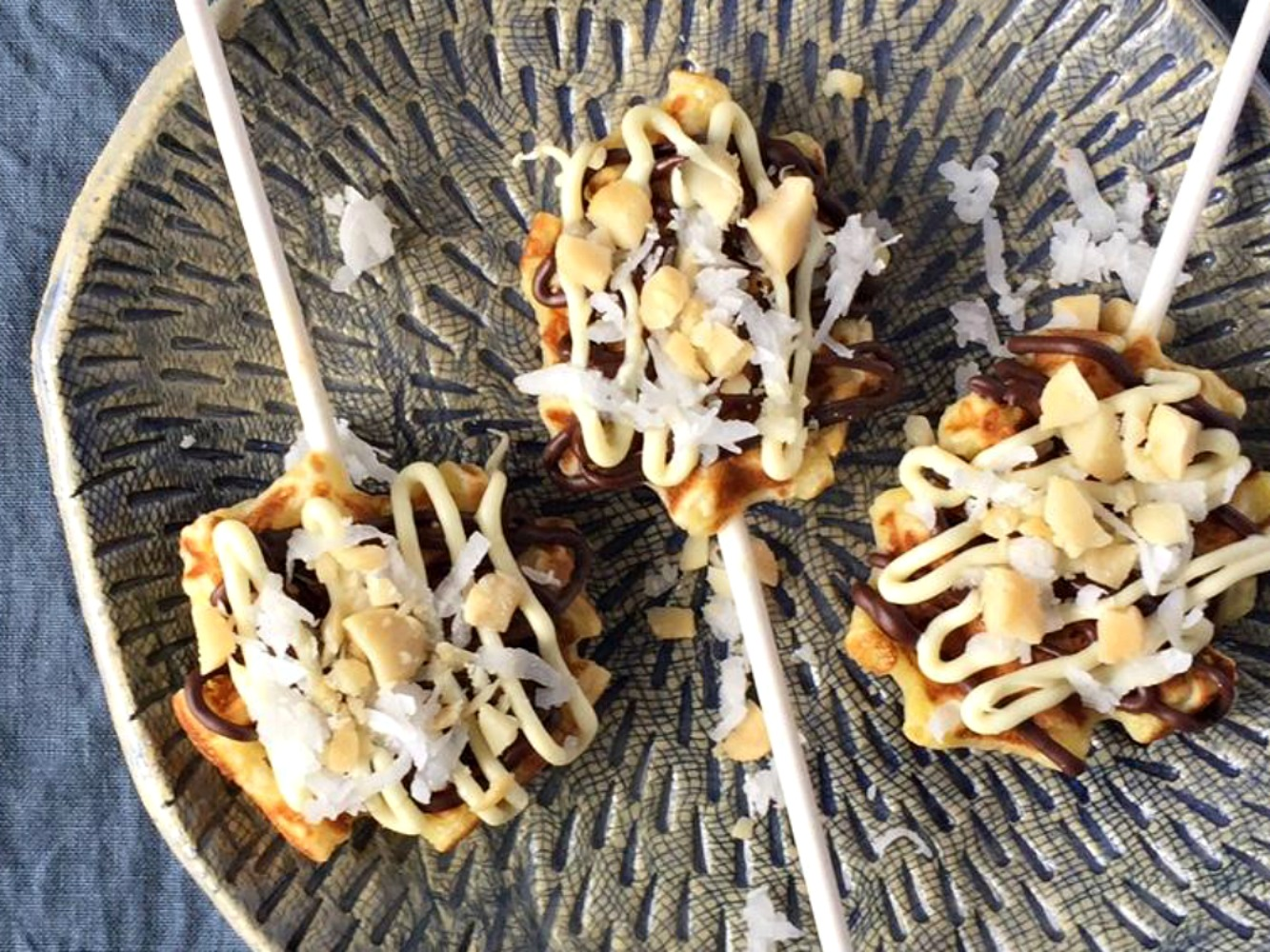 Mini Waffle Pops with Chocolate, Coconut, and Macadamia Nuts foodelicious