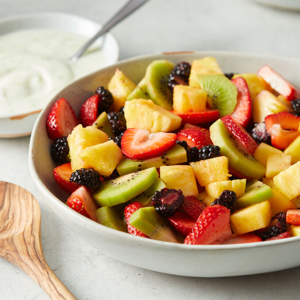 This refreshing fruit salad is a classic combination that will be the favorite at any potluck or cookout. Serve with a creamy yogurt dressing to take this side (or dessert) to the next level.