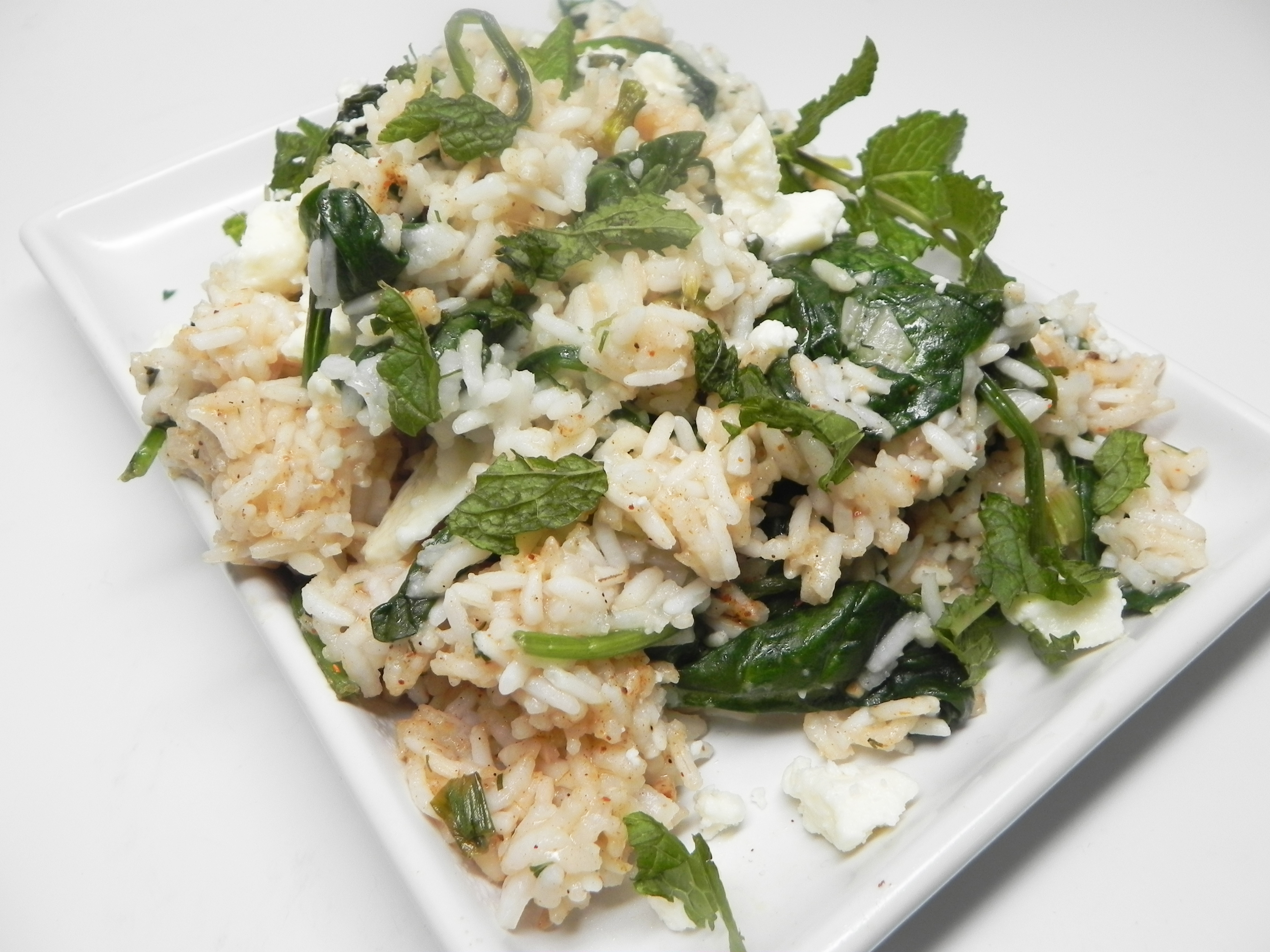 Delicious Spinach Rice with Feta