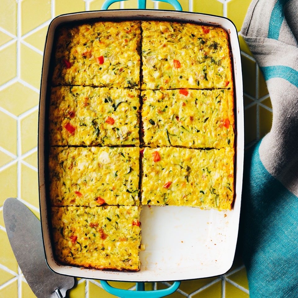 This healthy casserole is essentially a crustless quiche, brimming with fresh summer vegetables. Bake it up for an elegant summer brunch or a casual backyard barbecue.