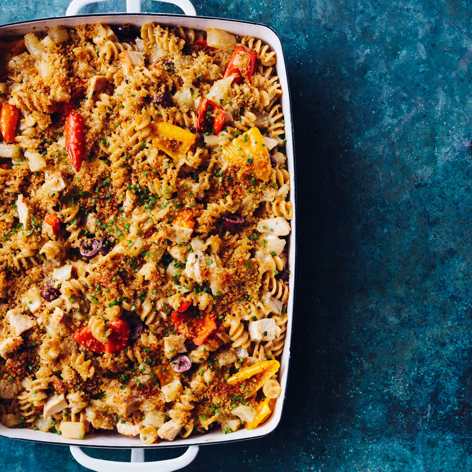 You can assemble this healthy chicken casserole before you leave for a party and pop it in the oven at the host's house. Or bake it at home and bring it along—it's delicious at room temperature too.