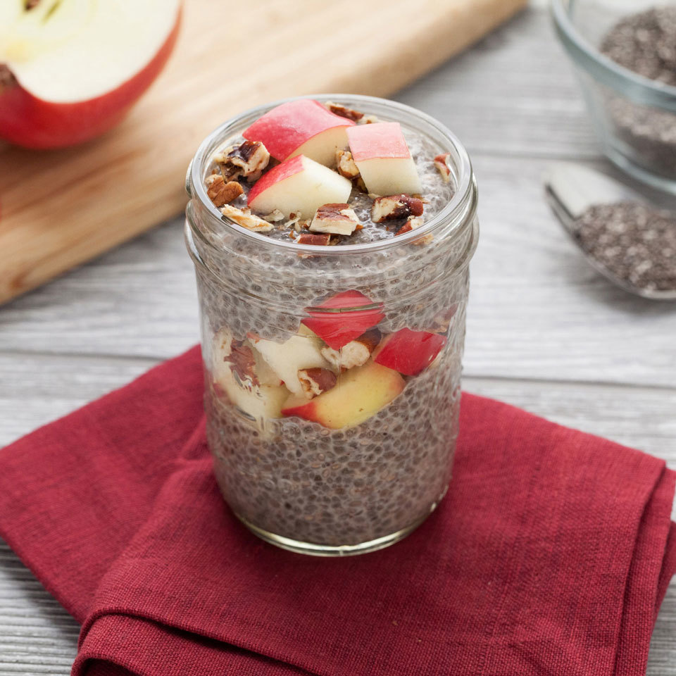 Switch up your morning oatmeal routine with this so-easy chia pudding recipe. It's made just like overnight oats: combine chia and your milk of choice, let soak overnight, then top with the classic flavor combo of apples and cinnamon, with pecans for added crunch.