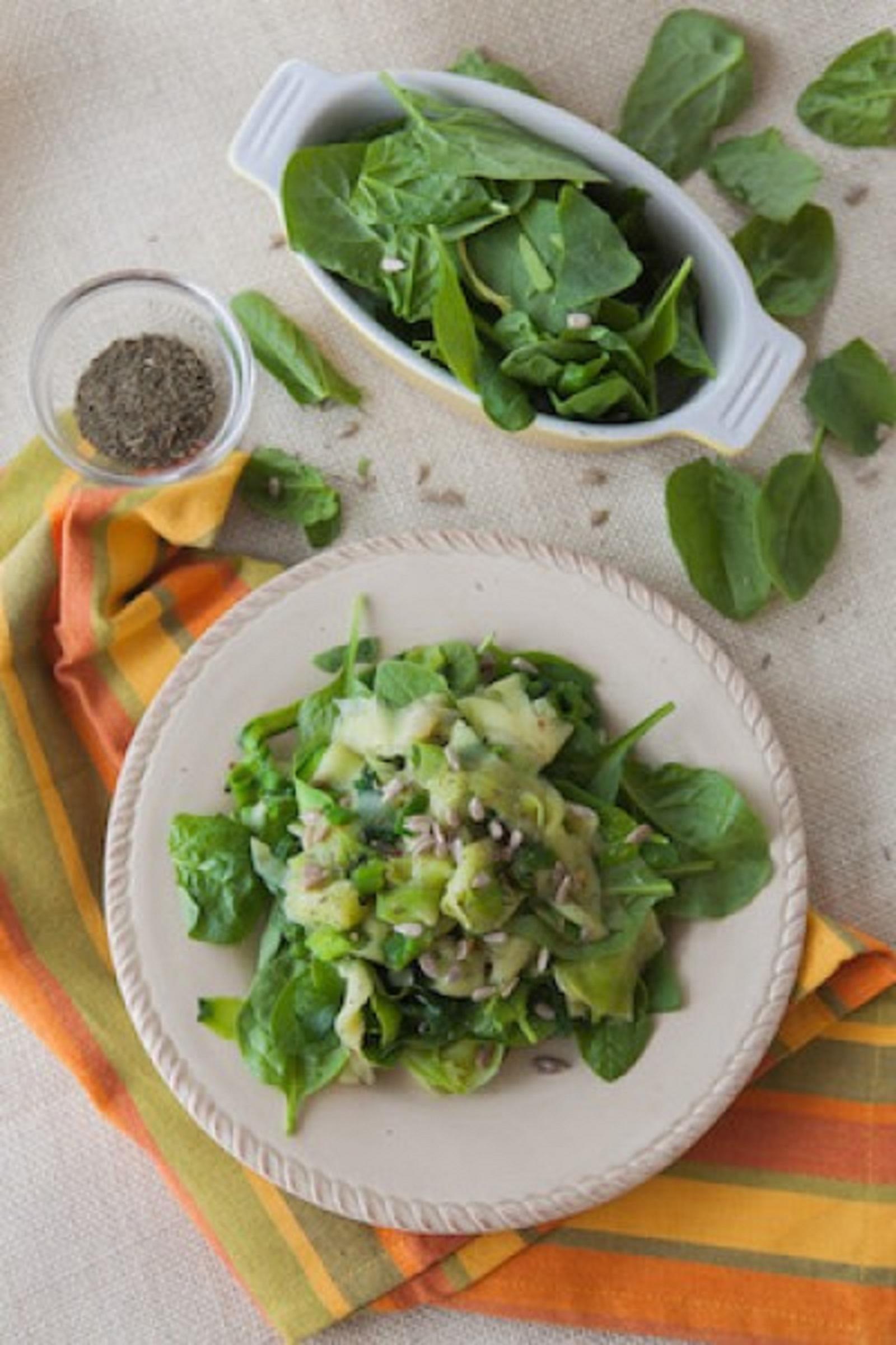 Zucchini Ribbon and Spinach Saute