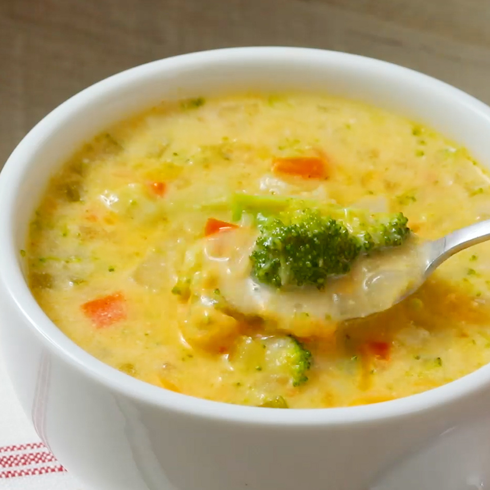 This satisfying remake of broccoli chowder benefits from the creamy texture of cooked potatoes and smooth, tangy reduced-fat sour cream instead of getting its richness from as much as a cup each of cream and cheese. Not only is the flavor vibrant, but a single serving gives you over half of the daily recommendation for vitamin C.