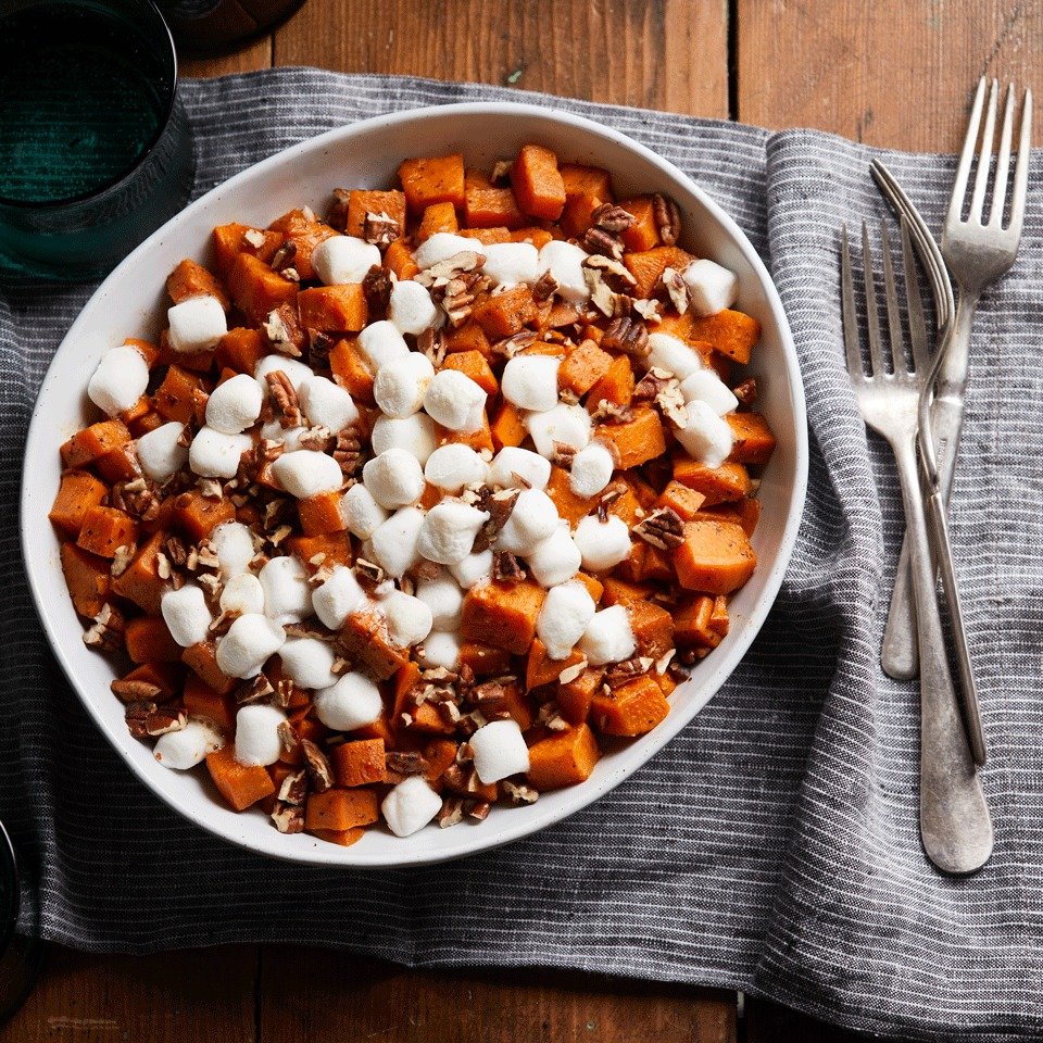 The genius hack in this recipe: topping sweet potatoes with marshmallows while they're still piping hot from the slow cooker yields a baked marshmallow topping that's typical with baked sweet potato casseroles.