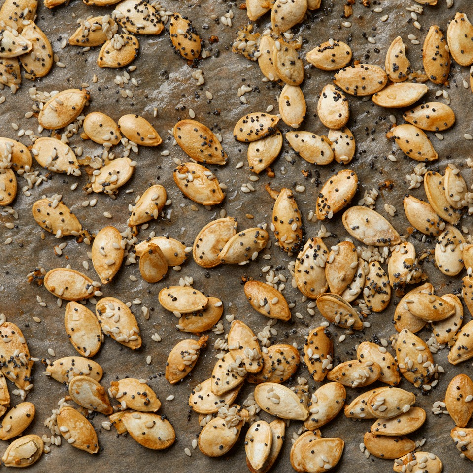 Everything bagel spices give these roasted pumpkin seeds an extra hit of flavor that's delicious any time of day.