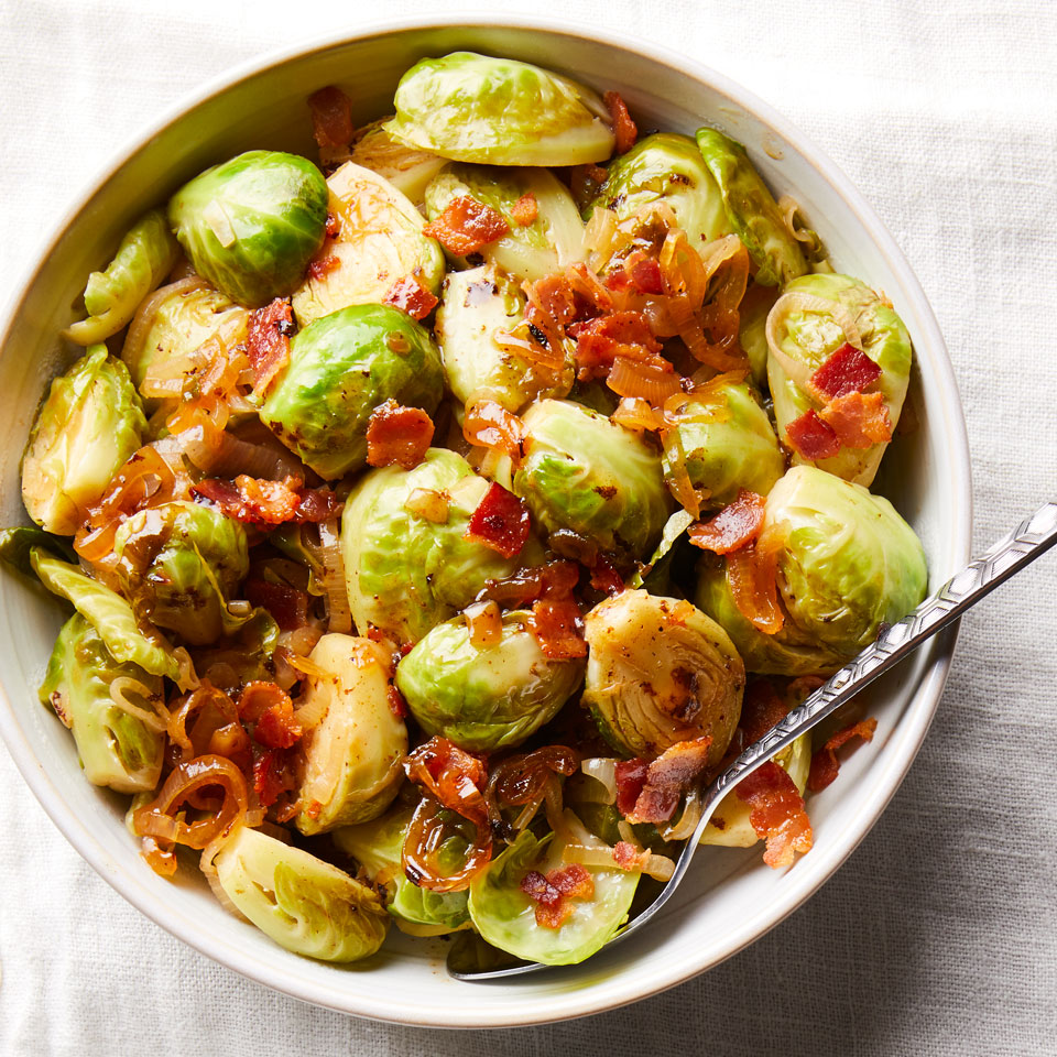 Cider-Braised Brussels Sprouts with Bacon Carolyn Malcoun