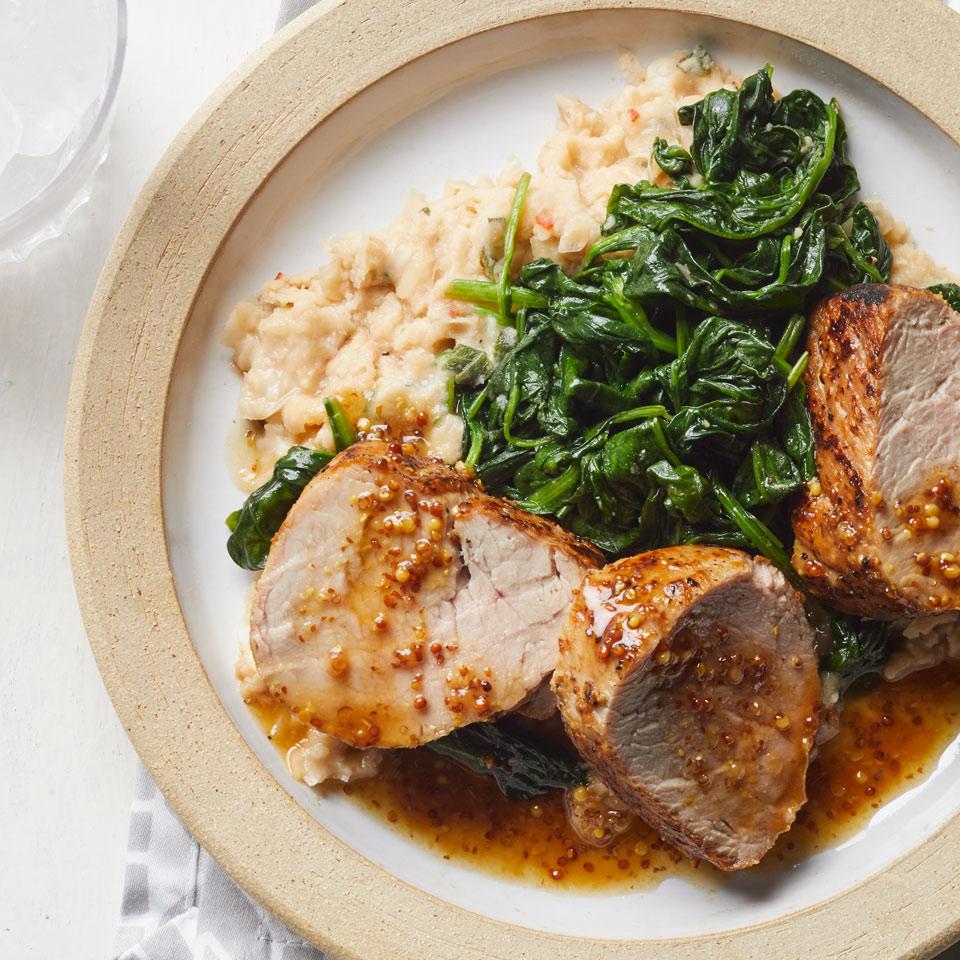 Honey-Mustard Pork with Spinach & Smashed White Beans Breana Killeen