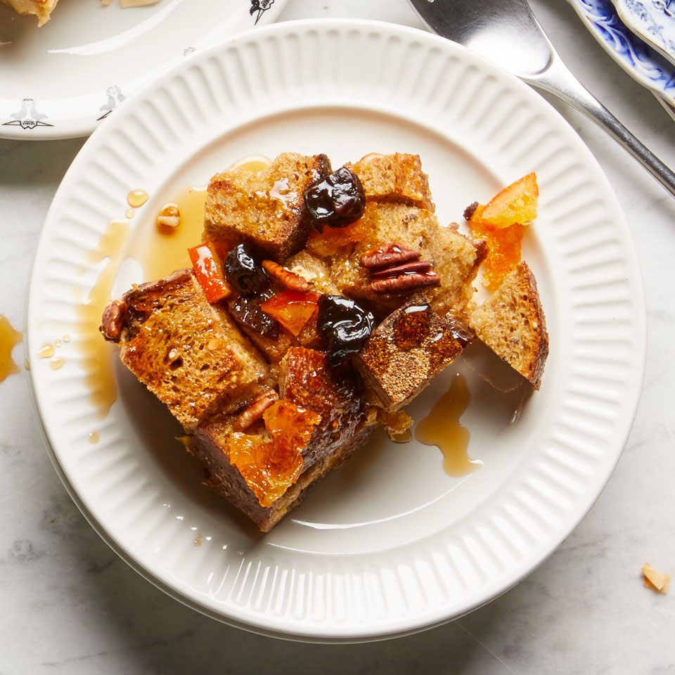 A combination of candied orange peel, dried cherries and pumpkin pie spice gives this healthy breakfast casserole recipe fruitcake-like flavor. To make it more authentic, add 2 tablespoons brandy along with the milk. Serve with pure maple syrup.