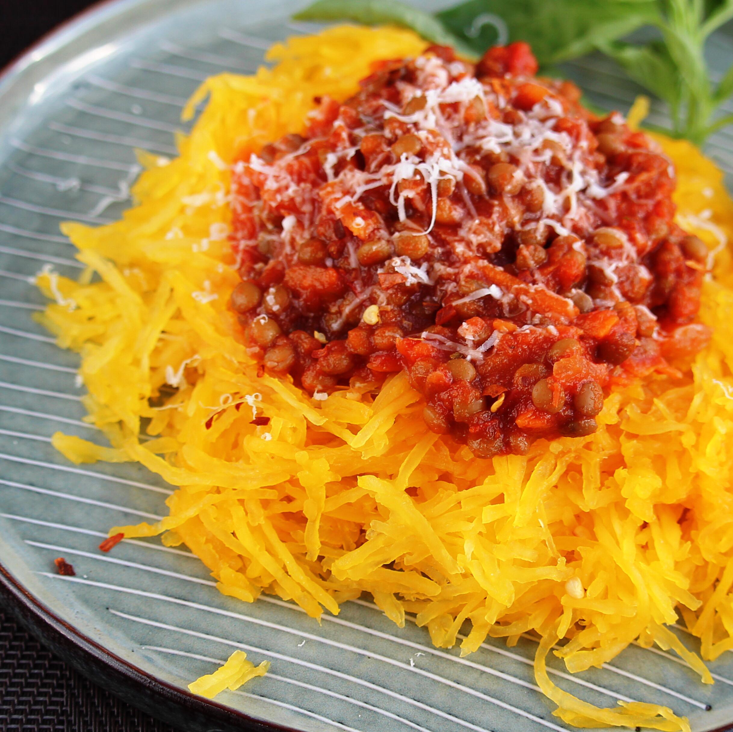 Zucchini Spaghetti with Lentil Marinara
