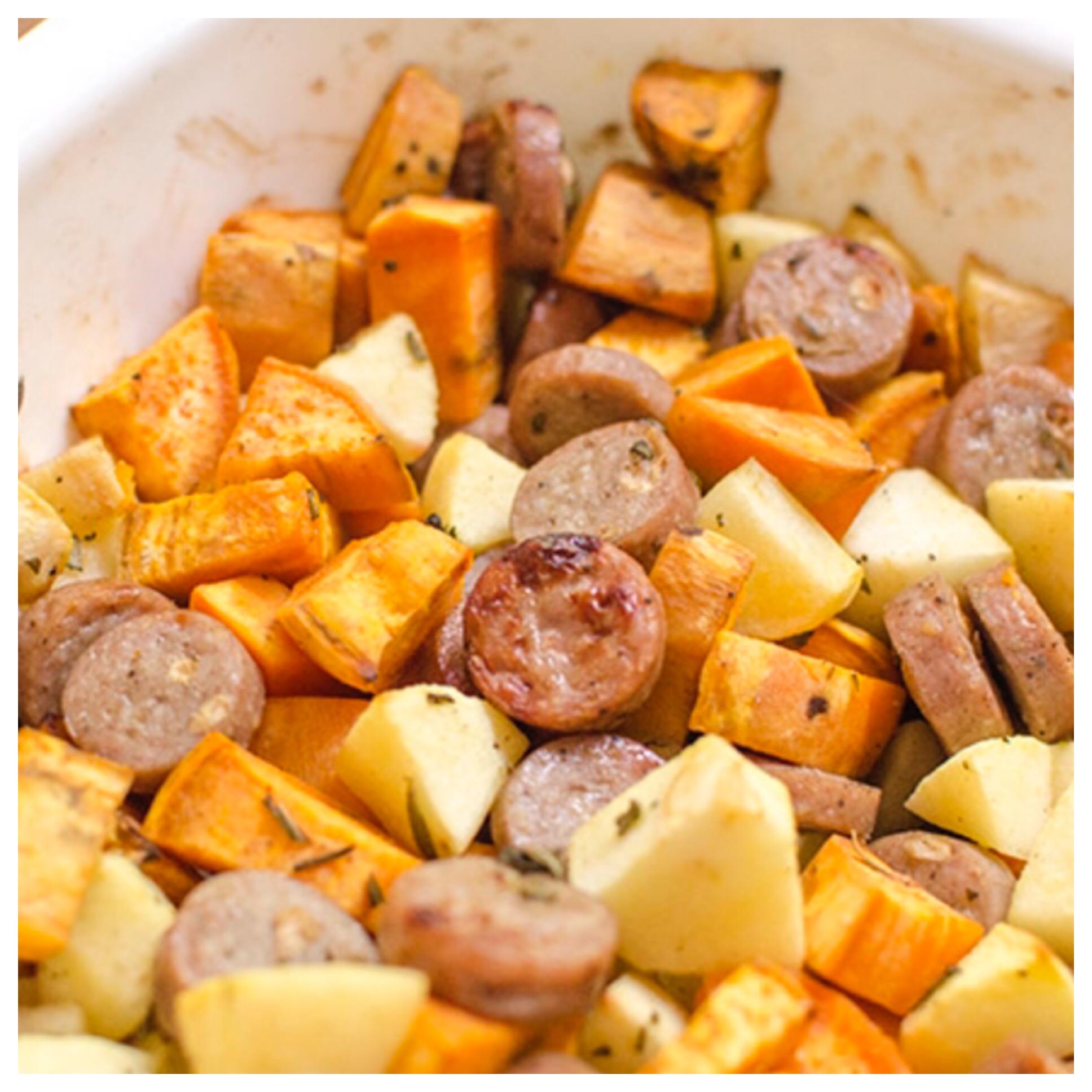 Sweet Potato and Apple Sausage Casserole