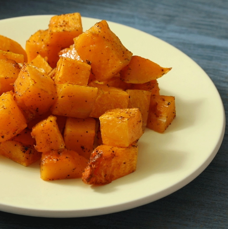Simple roasted butternut squash—just tossed with olive oil, salt and pepper—makes a classic fall side dish. This recipe is delicious with roasted meats, or toss the roasted squash into pasta or salad.