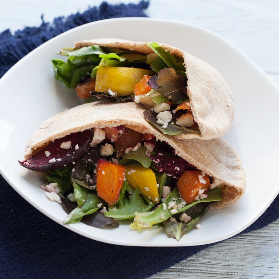 Roasted Veggie Hummus Pita Pockets Recipe Eatingwell