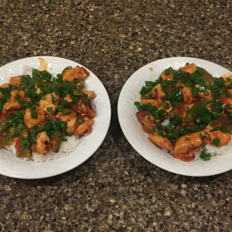 Szechuan Chicken, Peppers, and Peas on Rice Kristin Mashak