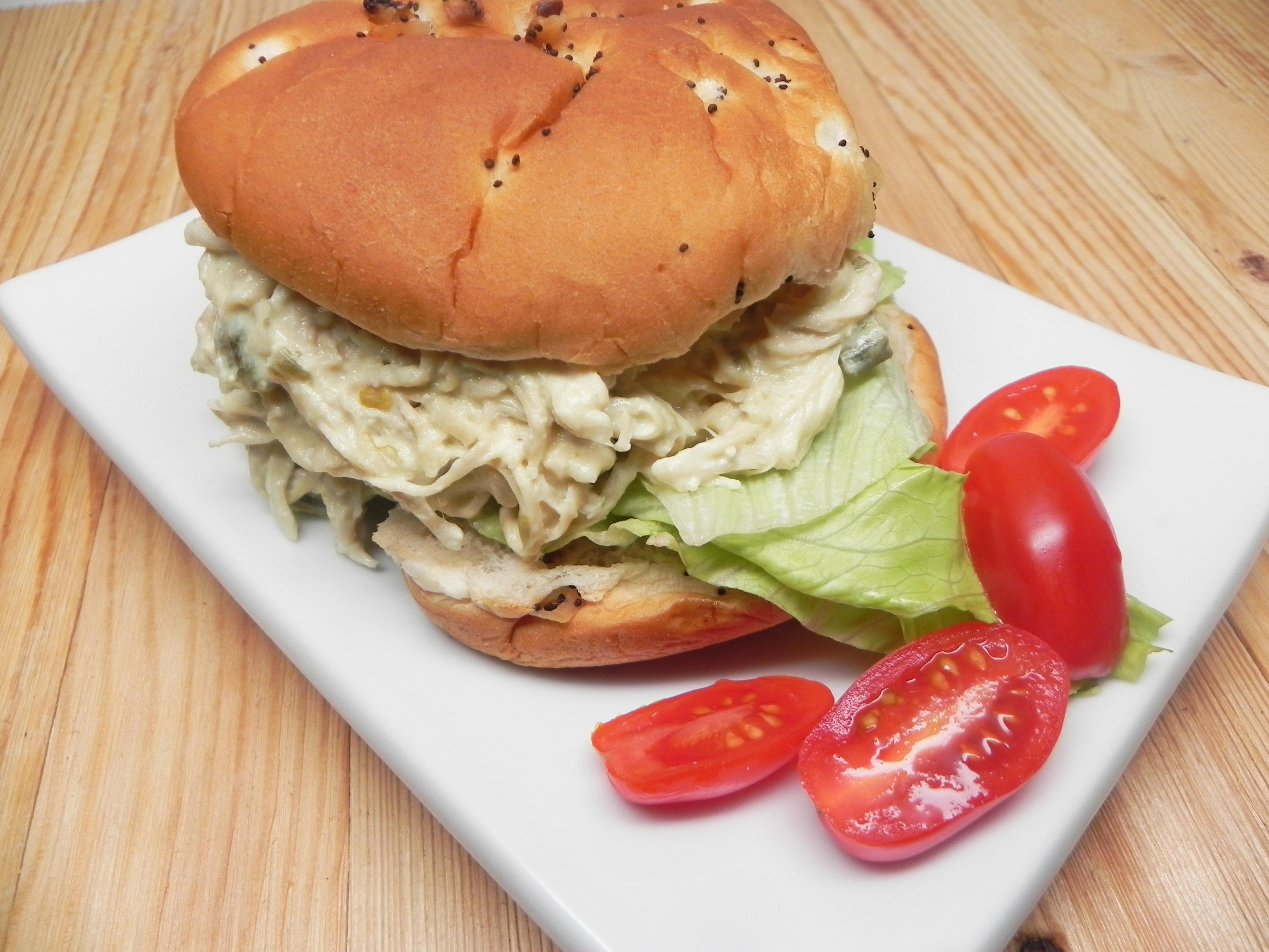 Slow Cooker Shredded Jalapeno Chicken Sandwiches shackbart