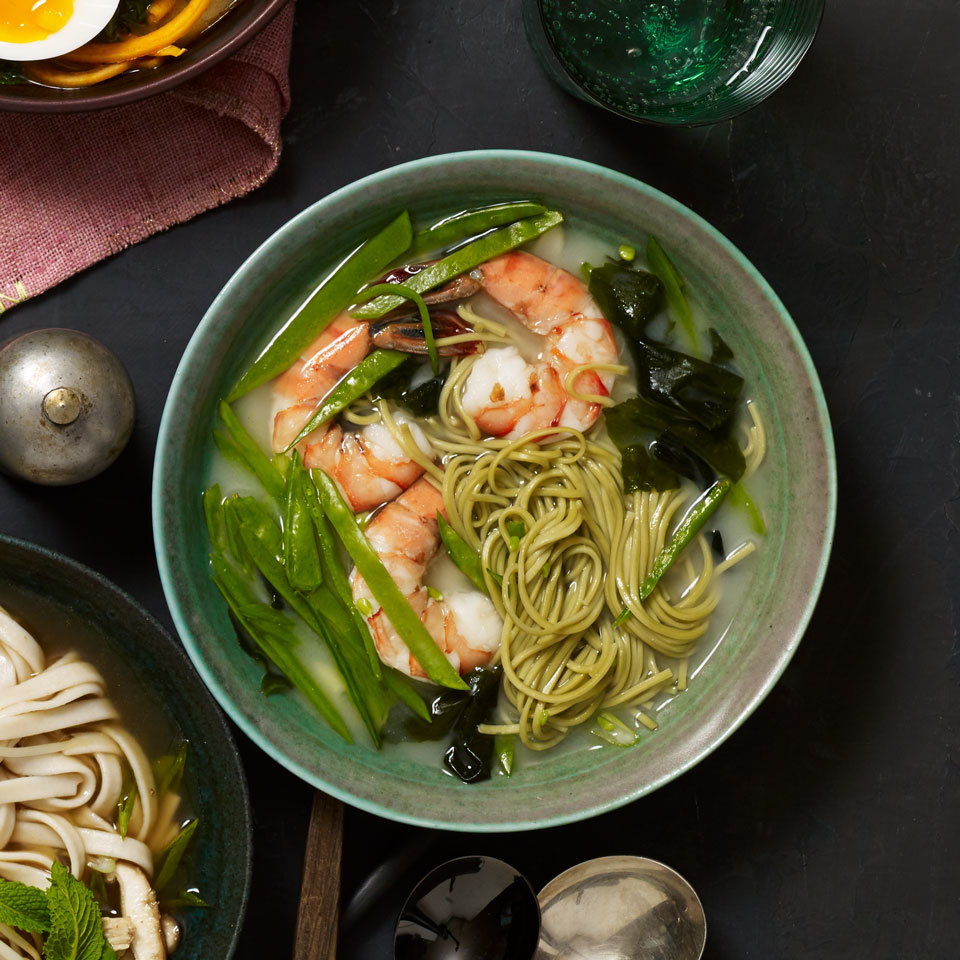 Green tea soba noodles, or cha soba, are buckwheat noodles made with powdered green tea, which imparts a subtle grassy note and pretty color. You can find them in Japanese markets or online. Regular buckwheat soba noodles work just as well in this cup-of-noodles-style mason jar noodle soup.